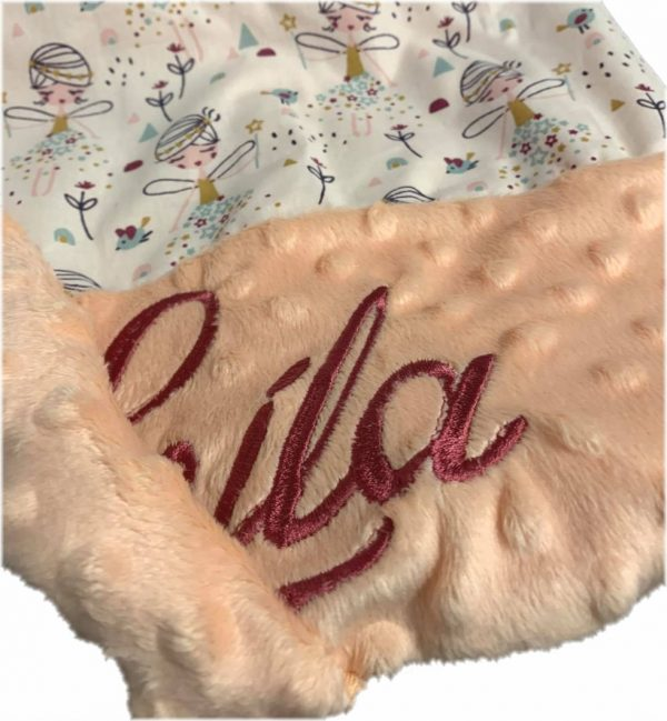 otroška odejica personalizirana belo roza